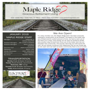 January Maple Ridge Gracious Retirement Living Newsletter