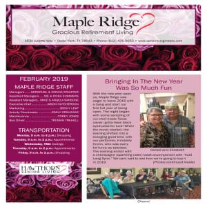 February Maple Ridge Gracious Retirement Living newsletter
