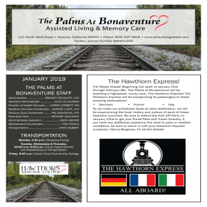 January Palms at Bonaventure Assisted Living Newsletter