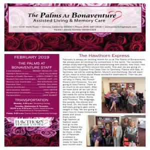 February Palms at Bonaventure Assisted Living newsletter