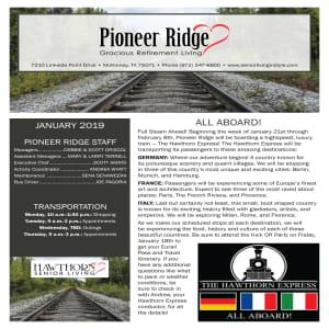 January Pioneer Ridge Gracious Retirement Living Newsletter