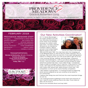 February Providence Meadows Gracious Retirement Living newsletter
