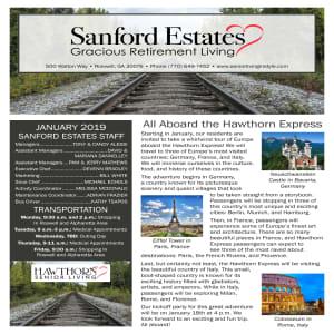 January Sanford Estates Gracious Retirement Living Newsletter