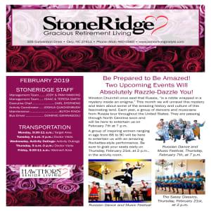 February Stoneridge Gracious Retirement Living newsletter
