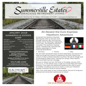January Summerville Estates Gracious Retirement Living Newsletter