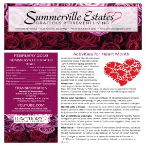 February Summerville Estates Gracious Retirement Living newsletter