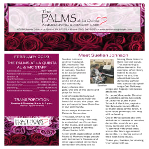 February The Palms at La Quinta Assisted Living and Memory Care newsletter