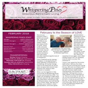 February Whispering Pines Gracious Retirement Living newsletter