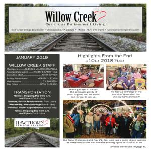 January Willow Creek Gracious Retirement Living Newsletter