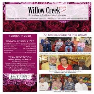 February Willow Creek Gracious Retirement Living newsletter