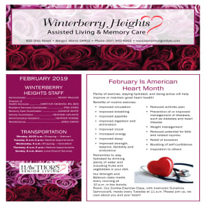 February Winterberry Heights Assisted Living newsletter