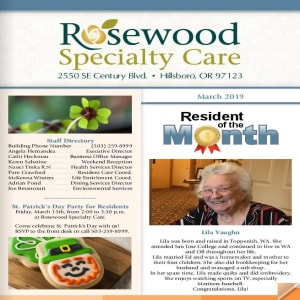 March Rosewood Memory Care Newsletter