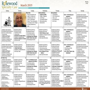 March Rosewood Memory Care Calendar