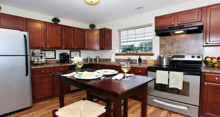 Apartment kitchen at Village Park Apartments in Pleasant Valley