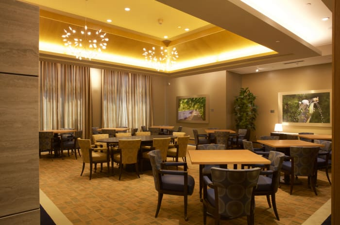 Club lounge from entryway at All Seasons of Birmingham in Birmingham, Michigan