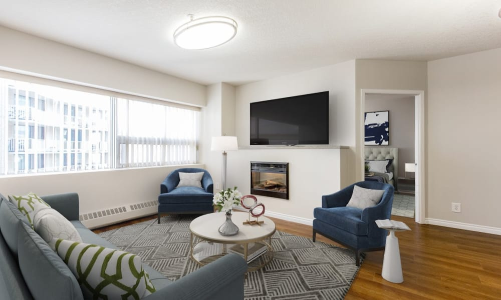 Enjoy a modern living room at Park Square in Edmonton