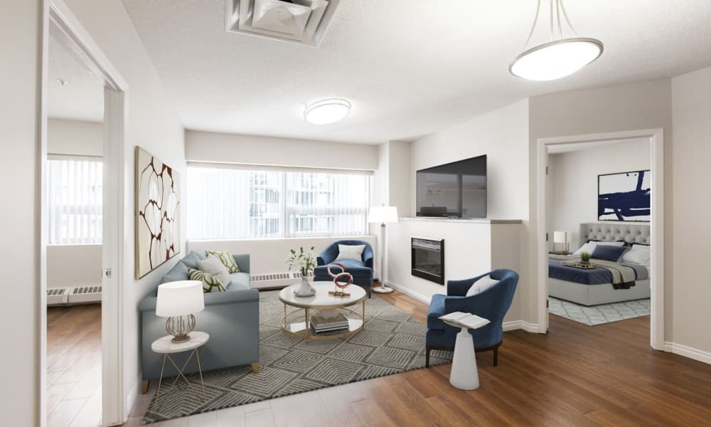 Spacious living room at Park Square in Edmonton