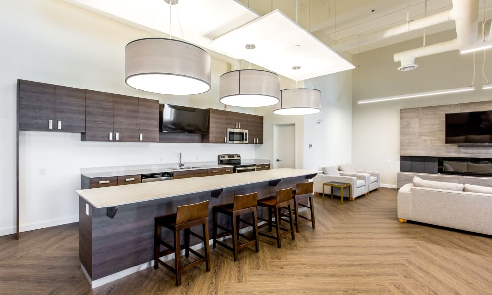 Clubhouse kitchen at Park Square in Edmonton