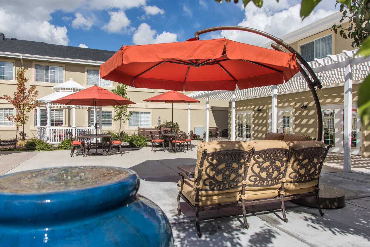 Patio at our senior living community in Clearfield, Utah