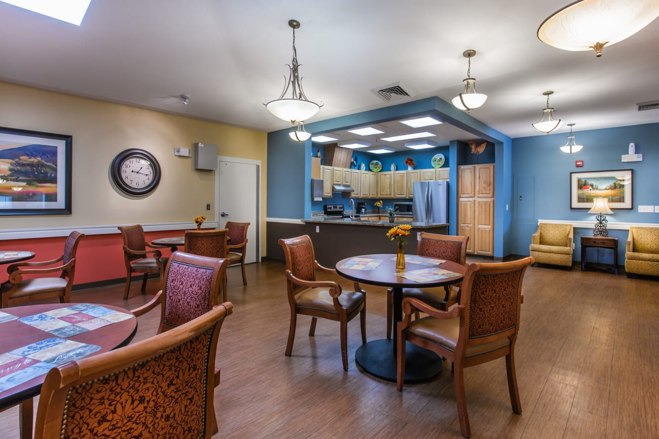 Dining area at Chancellor Gardens in Clearfield, Utah