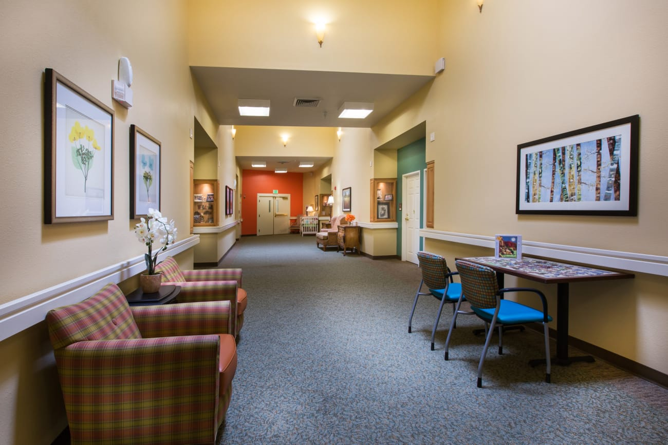 Sofas in hallways at Chancellor Gardens at Clearfield in Clearfield, Utah