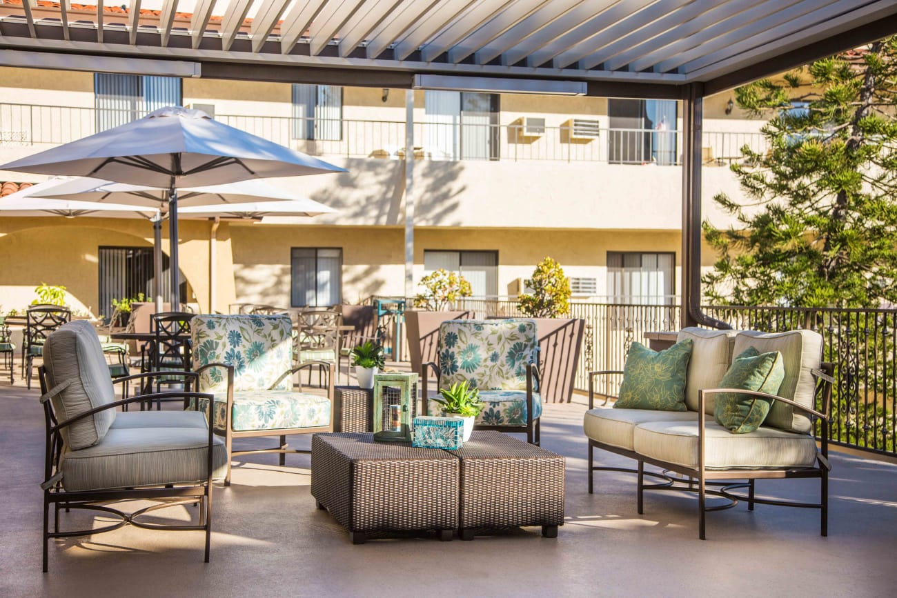 Exterior places for sharing at Huntington Terrace in Huntington Beach, California