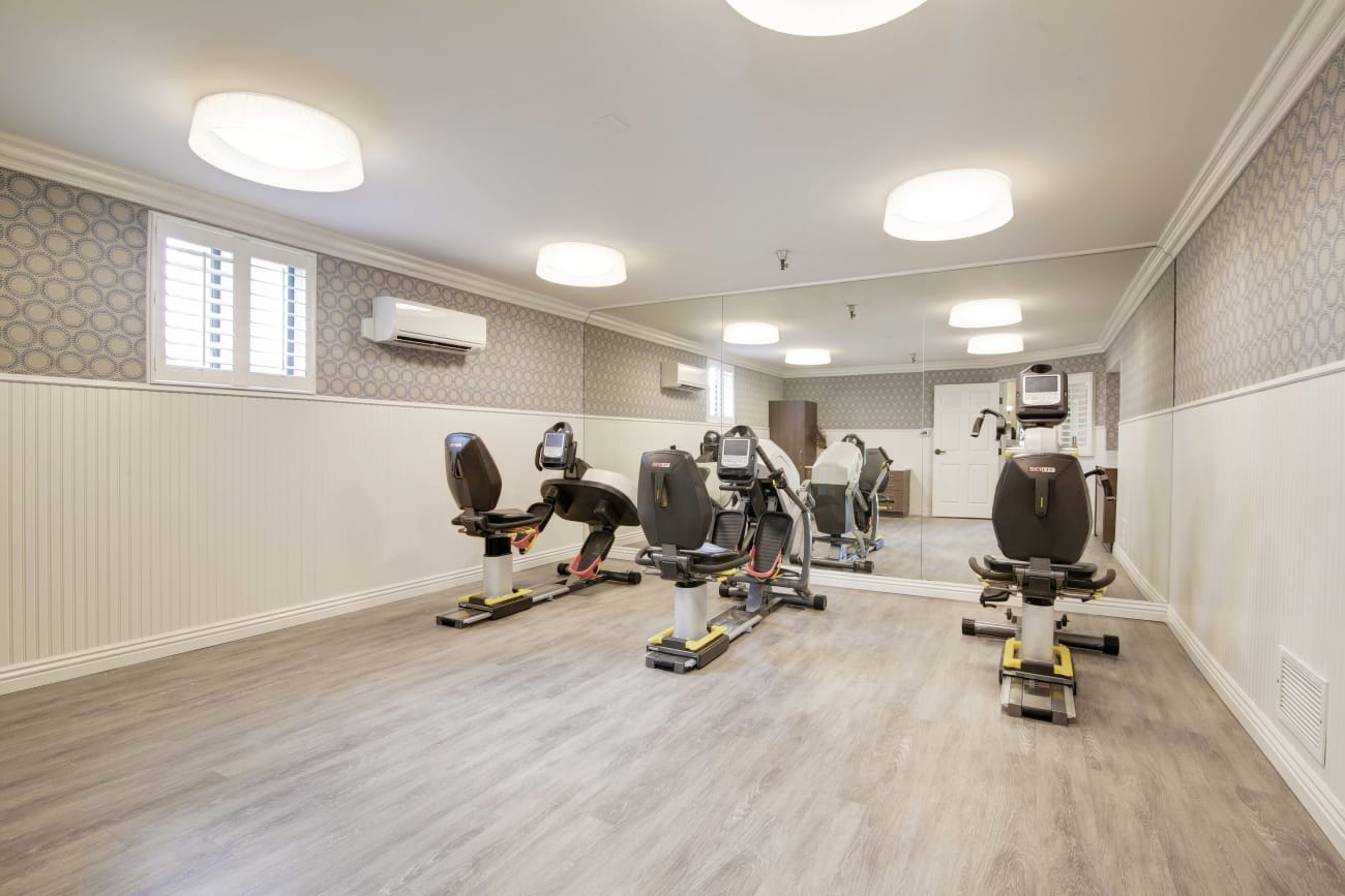 Fitness center for residents at Huntington Terrace in Huntington Beach, California