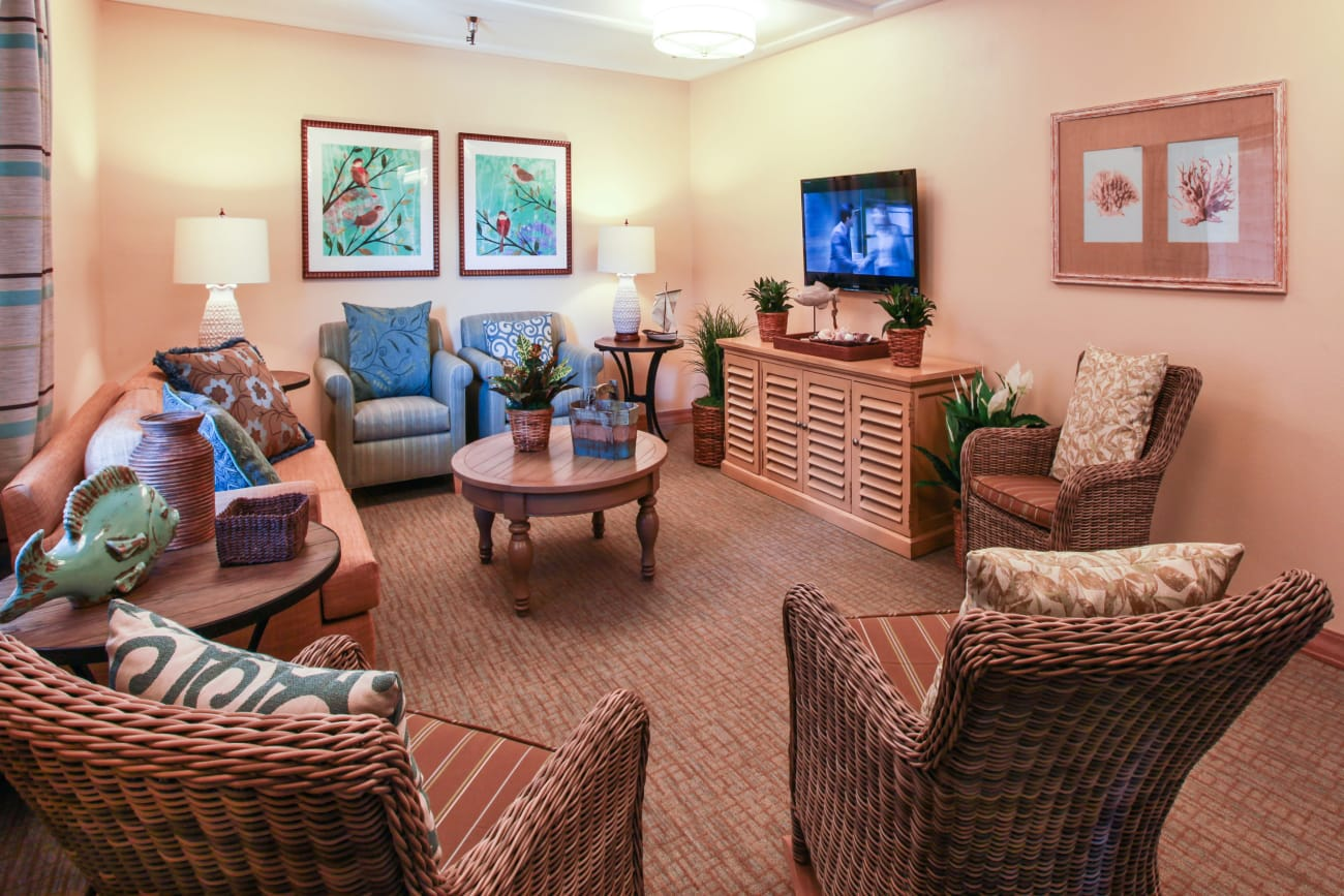Tv room for our guests at Huntington Terrace in Huntington Beach, California