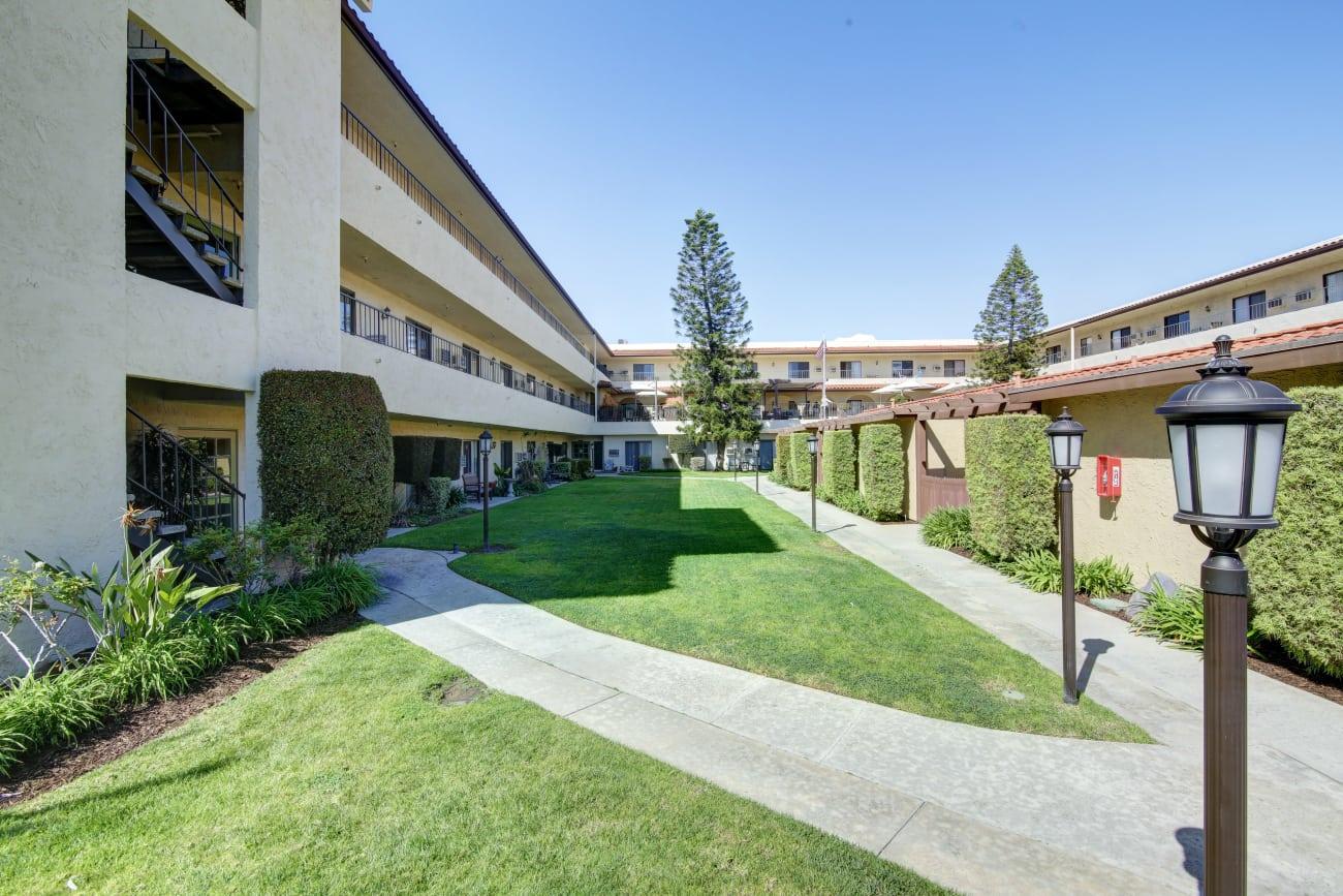 Walking paths at Huntington Terrace in Huntington Beach, California