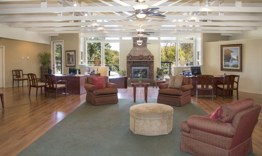 Leasing office interior at Waters Edge in Oklahoma City