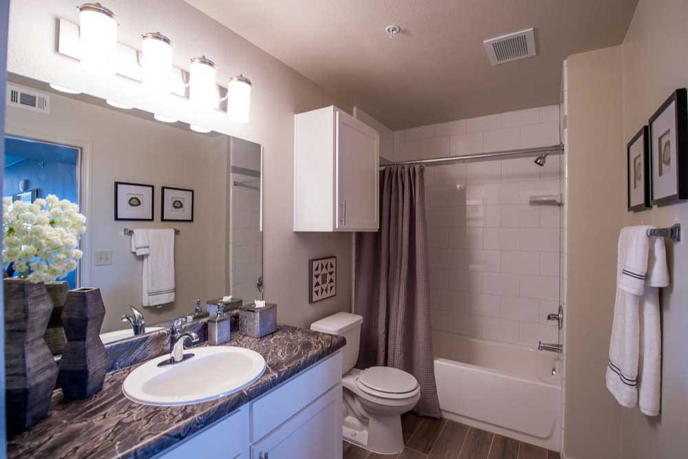 Bathroom at Scissortail Crossing Apartments.