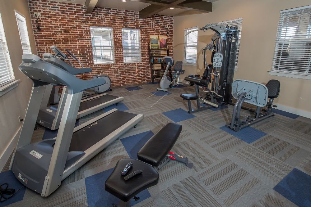 Fitness center at Cottages at Tallgrass Point Apartments