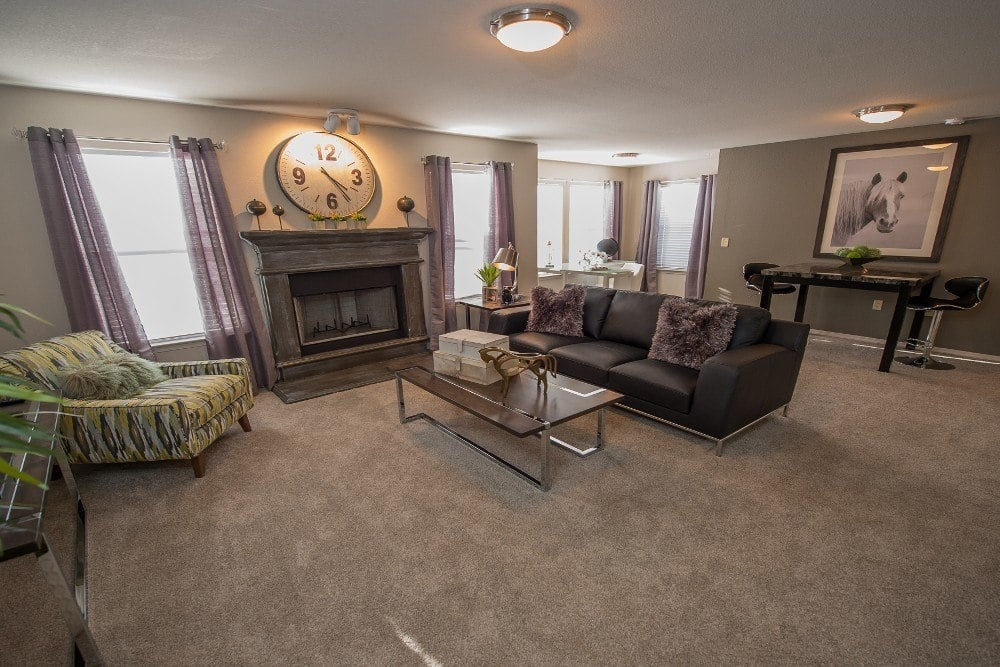 Living room at Cottages at Tallgrass Point Apartments