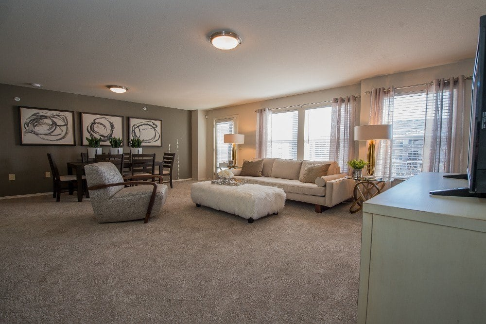Living Room space at Cottages at Tallgrass Point Apartments