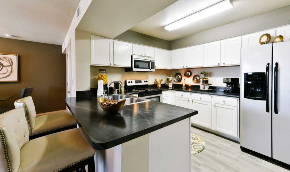 Example kitchen at Cottages at Abbey Glen Apartments