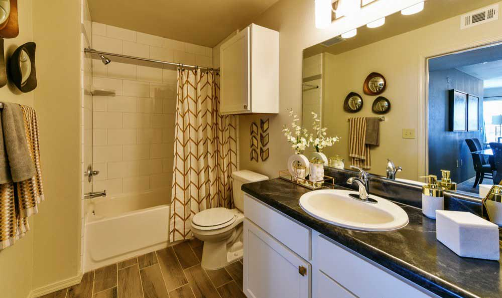 Another angle of our bathrooms at our apartments in Lubbock, TX