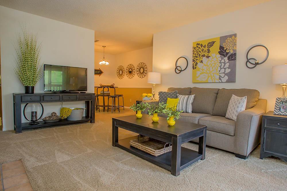 Comfortable living room at Tulsa apartments