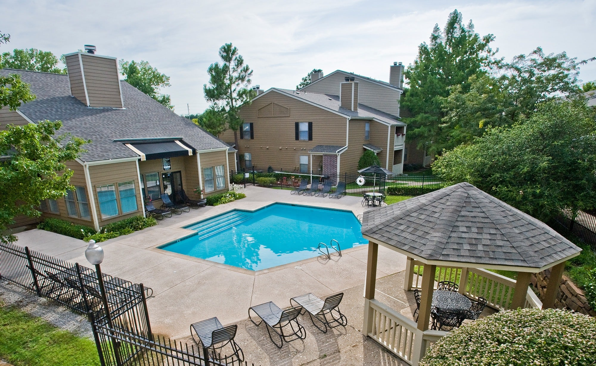 Swimming pool view at apartments in Tulsa