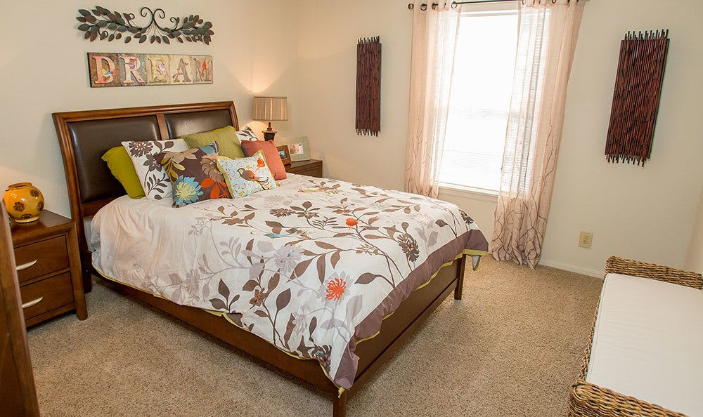 Comfortable bedroom at Tulsa apartments