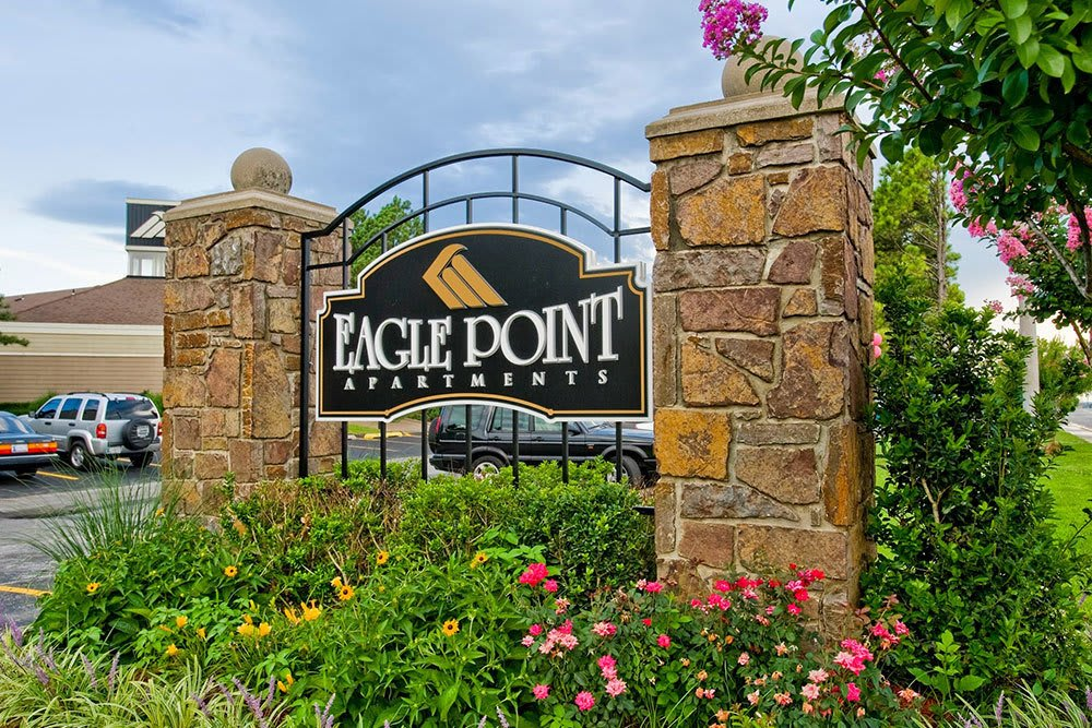 Front sign at apartments Eagle Point Apartments in Tulsa, OK