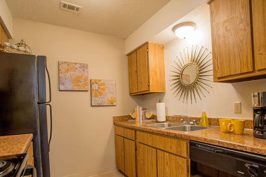 Warm kitchen area at Tulsa apartments