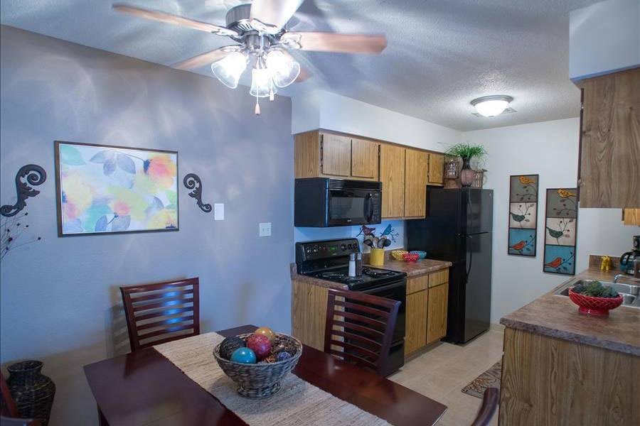 Kitchen and dining area at our Tulsa apartments