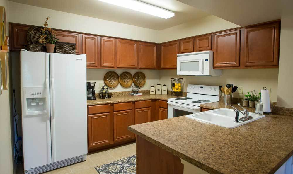 View of A Beautiful Kitchen in Our 2 Bedroom Apartments