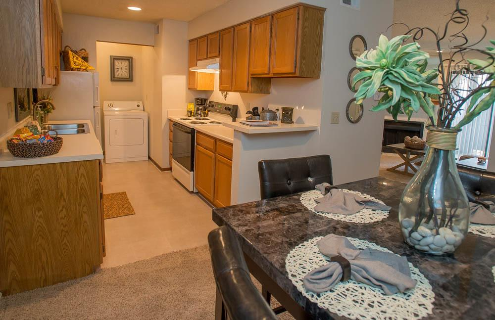 Kitchen and dining room at Polo Run Apartments