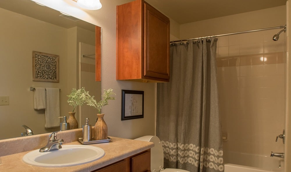 Bathroom at apartments in Owasso
