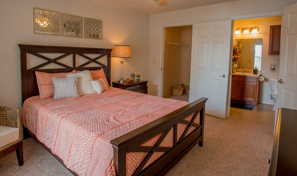 Bedroom at apartments in Owasso