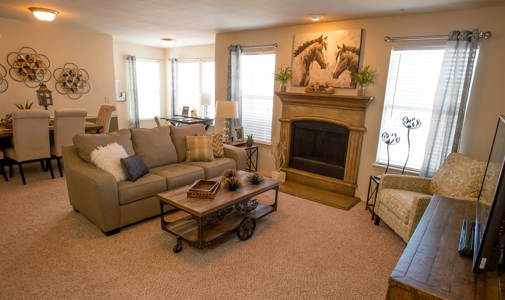 Living room at apartments in Owasso