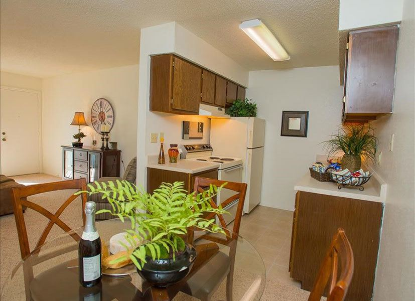 Kitchen and dining area at Tulsa apartments