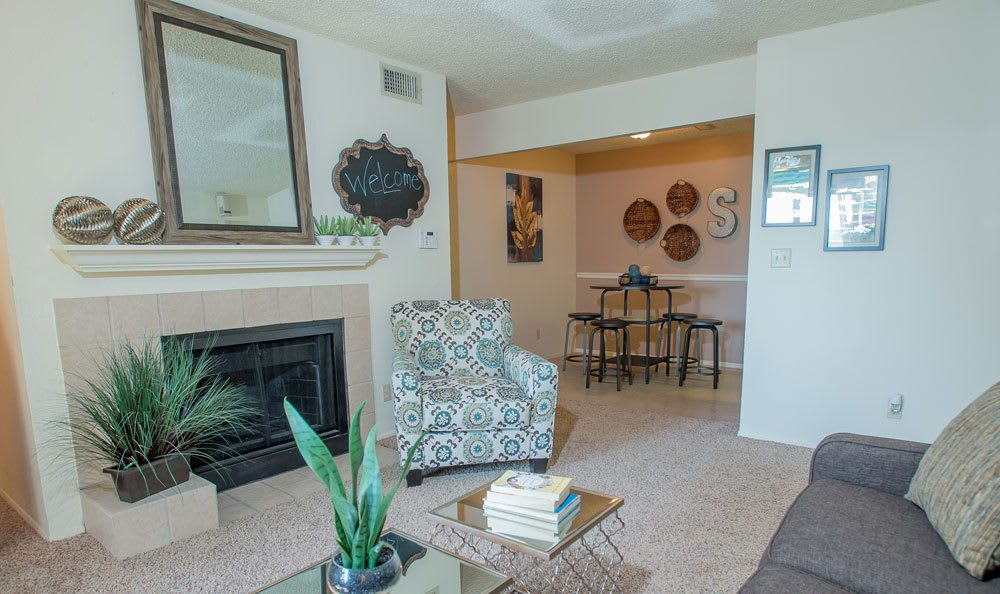 Spacious living area at Tulsa apartments