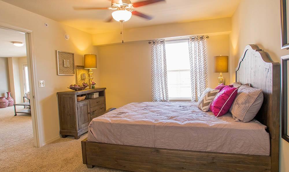 Bedroom at apartments in Wichita, KS